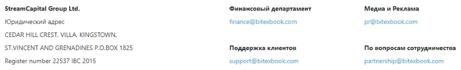 Биржа BitexBook - контакты