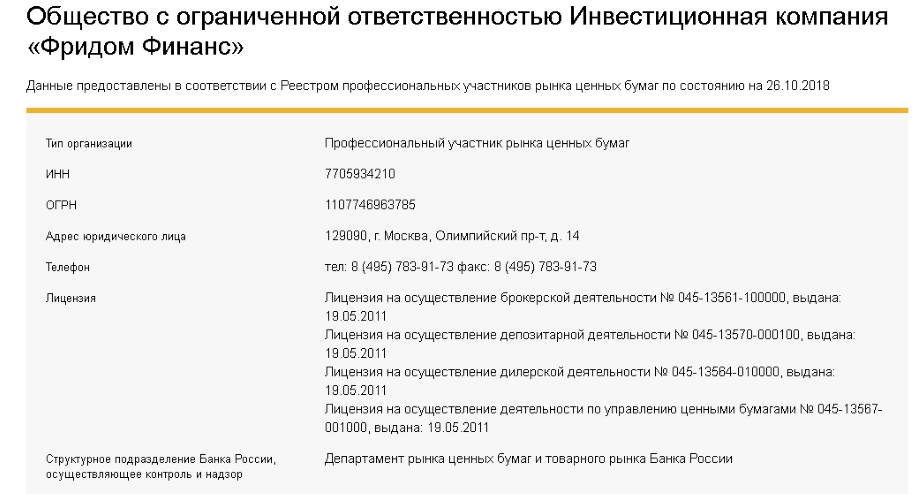 Информация про ООО ИК Фридом Финанс